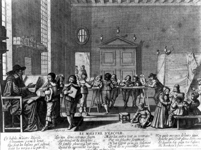 "Illustration: Abraham Bosse, ""Le maître d'école"" [the schoolmaster], 17th century via Musée virtuel du Protestantisme, Public Domain."